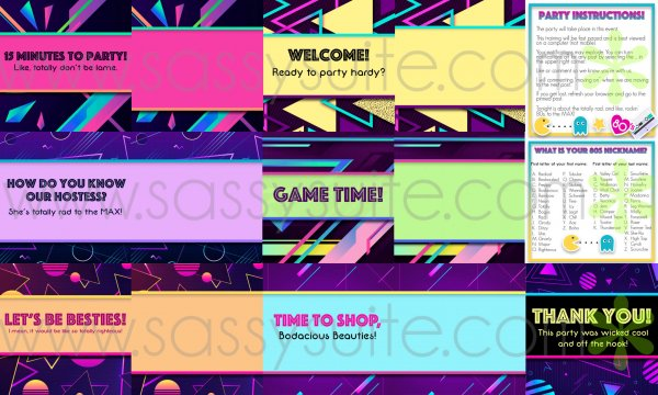 80s themed Facebook Party Graphics Mockup