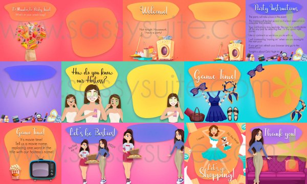 Girls' Night themed Facebook Party Graphics Mockup
