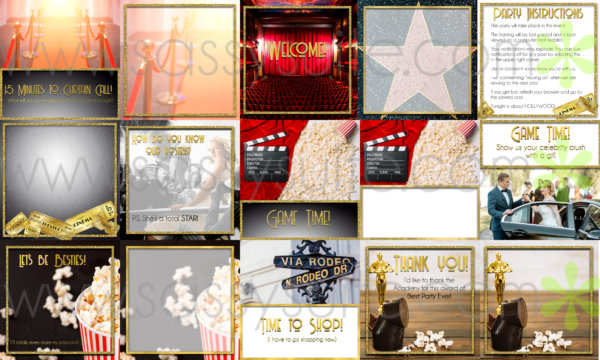 Hollywood themed Facebook Party Graphics Mockup